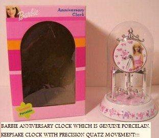 Barbie Anniversary Genuine Porcelain Keepsake Clock with Precision