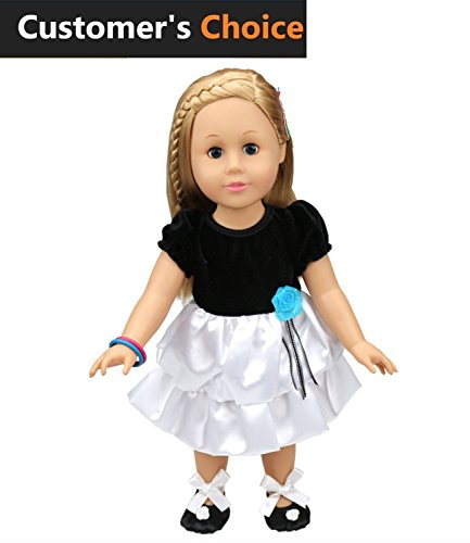 Kid Bros | Fabulous Black And White Dresses Costume Dresses + BONUS : 1 Shoes | Superior Quality | Perfectly Set Clothes For American Girl Dolls 18 inch | Amazing Chrismas Gift For Your Kids.