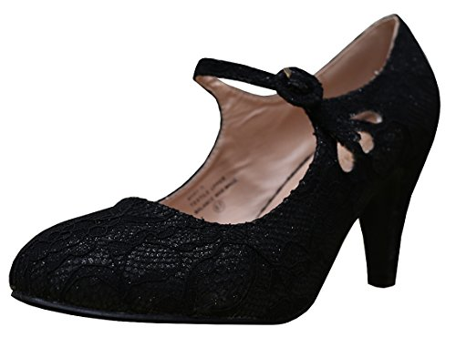 Cambridge Select Dames Ronde Neus Mid Hielen Mary Jane Dress Pump Zwart Kant
