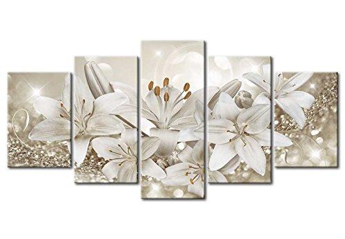 murando - Cuadro acústico Flores Lirio 200x100 cm - decoración de Pared - Lienzo 5 Piezas - Cuadros XXL - Panel de Pared - Silencio bA-0309-bn