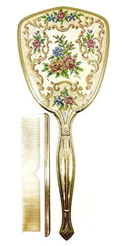 (Vintage Needlepoint Roses Mirror & Comb)