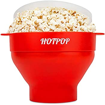 The Original Hotpop Microwave Popcorn Popper, Silicone Popcorn Maker, Collapsible Bowl Bpa Free and Dishwasher Safe- 12 Colors Available (Red)