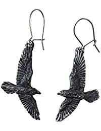 Alchemy Gothic Black Raven Earrings Fashion Jewelry