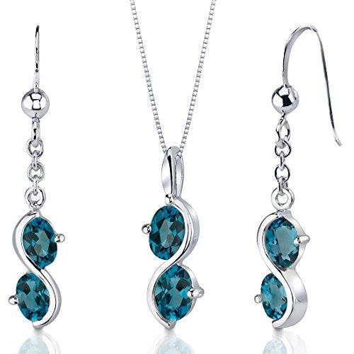 Revoni Collier et Boucles d'oreilles Femme - Argent fin 925/1000 - London Topaze Bleue 3.75 ct
