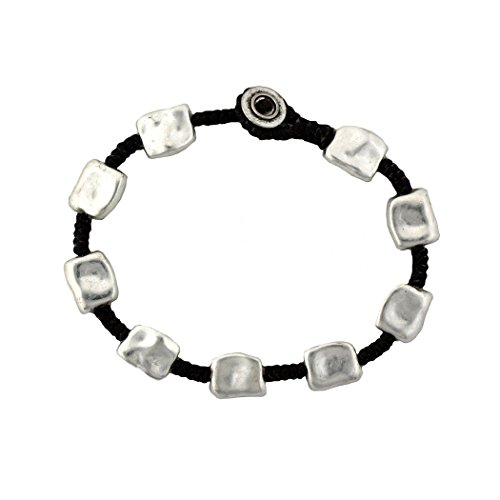Bali Queen Silver Alloy Bracelet Wrist Jewelry Waxed Linen Wristband