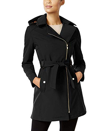 - Via Spiga Women's Petite Faux-Leather-Trim Asymmetrical Softshell Coat Black PS