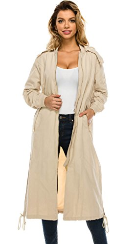 JEZEEL Women's Zipper Pocket Detail Hooded Long Waterproof Jacket. (DH419) (S, Beige)