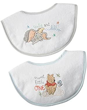Disney Classic Winnie the Pooh and Dumbo embroideried Newborn bib set  2 Count