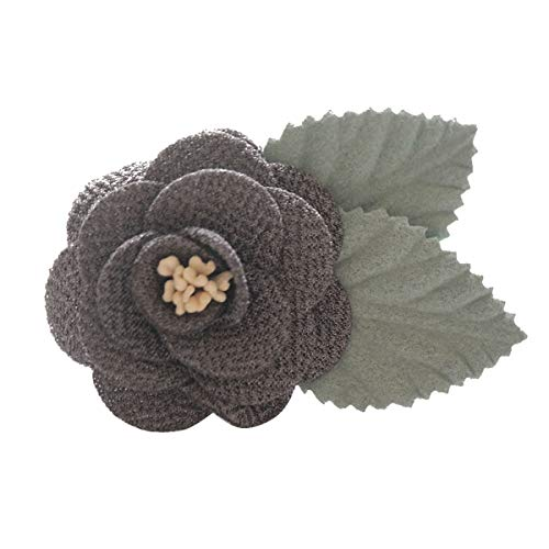 Sunny Home Men's Lapel Flower Handmade Boutonniere Pin for Suit (Dark Grey(Brooch Core Leaf))