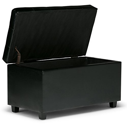 Simpli Home Cosmopolitan Storage Ottoman Black