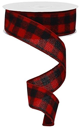 Wired Red Flannel Lumberjack Buffalo Plaid Ribbon,1.5 Wide x 10 Yards, Red Black : Lumberjack Party Supplies : 1.5 Wide x 10 Yards Rustic Pearl Collection
