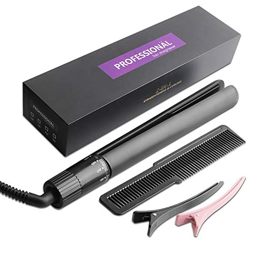 Hair Straightener Professional Flat Iron Straightening Iron for All Hair Types 2 in 1 Hair Straightener and Curling Iron with Rotating Adjustable Temperature and Salon High Heat 255°F-450°F (Black)