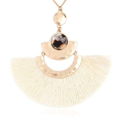 RIAH FASHION Bohemian Fringe Tassel Pendant Statement Necklace - Silky Strand Semi Circle Fan Charm, Teardrop Thread, Freshwater Pearl Charm Long Chain (Fan Tassel - Ivory)