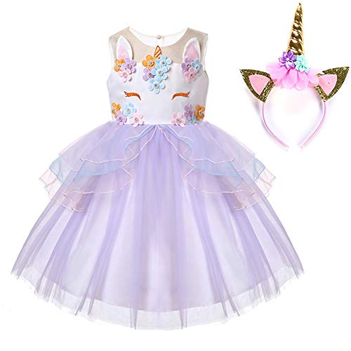 (Muababy Baby Girl Unicorn Costume Pageant Flower Princess Party Tutu Dress with Headband (3 Years,)