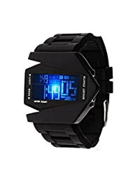 Men's Sports Watch Blue LED Digital Stealth 3D Aircraft Silicone Strap Designer Watch Black Rubber Band Quartz Airplane Wristwatches for Children