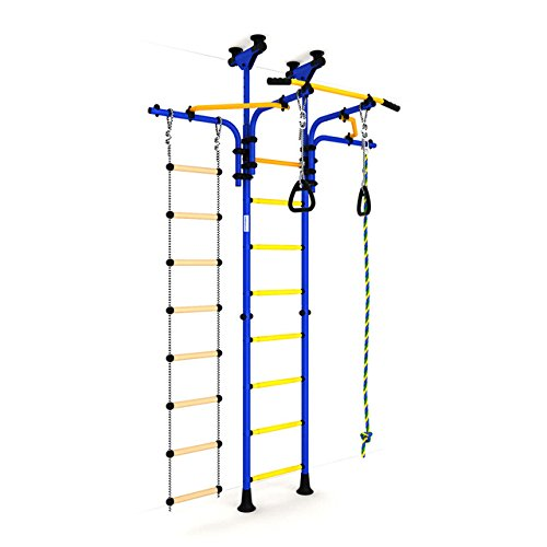Kids Playground Play Set for Floor & Ceiling / Green Family Indoor Training Gym Sport Set with Accessories Equipment: Climber, Climbing Rope and Gymnastic Rings / Carousel R5 by sportkid