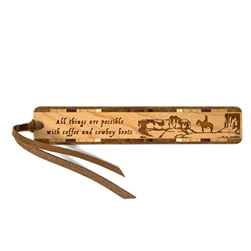 Personalized Engraved Wooden Bookmark with Tassel - All Things Possible with Coffee and Cowboy Boots Quote - Search B079NQPW5G to See Non Personalized Version