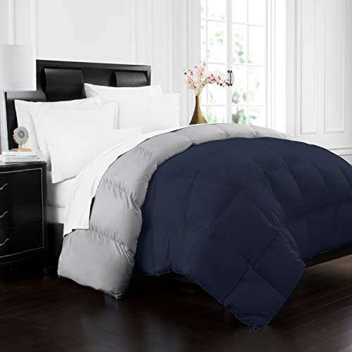 Beckham Hotel Collection 1700 Series Luxury Goose Down Alternative Reversible Comforter – Premium Hypoallergenic – All Season – Duvet – King/Cal King – Navy/Sleet