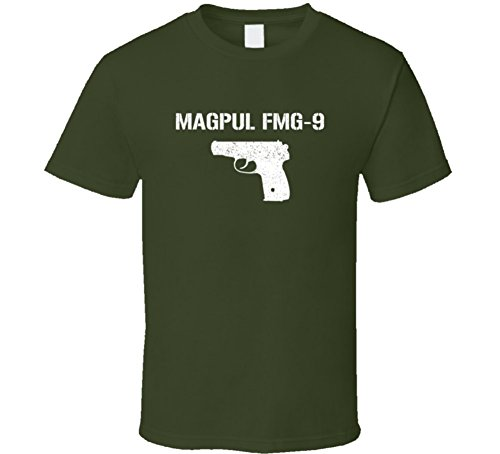 Threadsquad Magpul Fmg9 Pistol Military Distressed T Shirt 2XL Military Green