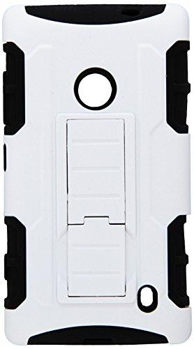 MYBAT Car Armor Kickstand Protector Cover Rubberized for Nokia Lumia 520 - Retail-Packaging - White/Black (Nokia Lumia 520 Back Cover)
