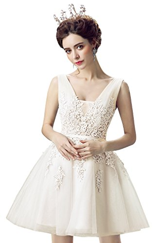 - Babyonlinedress Women Lace Evening Cocktail Dresses Short Gala Ball Party Gown,Ivory,Size 14