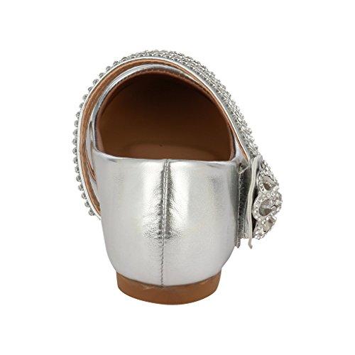 Coshare Ragazze Moda Piccolo Tacco Strass Mary Jane Vestito Floreale Pompe Argento - Brevetto Pu Piatto