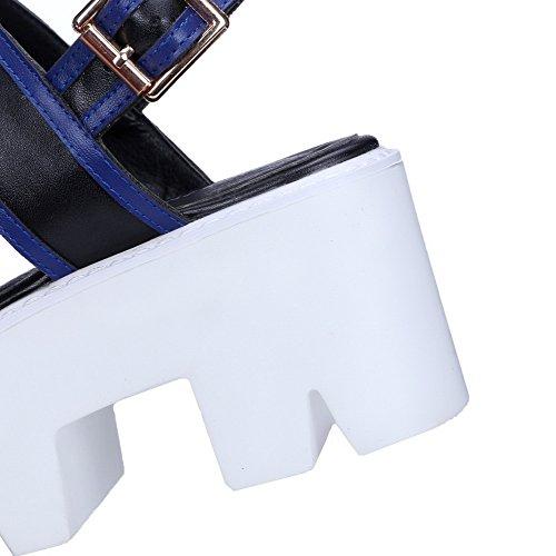 AgooLar Mujer Hebilla Puntera Abierta Plataforma Material Mezclado Colores Surtidos Sandalia Negro