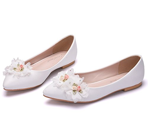 Ballet Low Women's For Heels Ladies Women On Bridal Loafers Size Flower White Shoes Wedding 35 Glitter 42 Flats ZPL White Pumps Slip xwZS7x