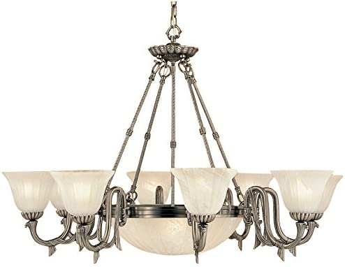 Classic Lighting 68018 PTR St. Moritz, Cast and Glass, Chandelier, 44.0 x 44.0 x 30.0 , Pewter