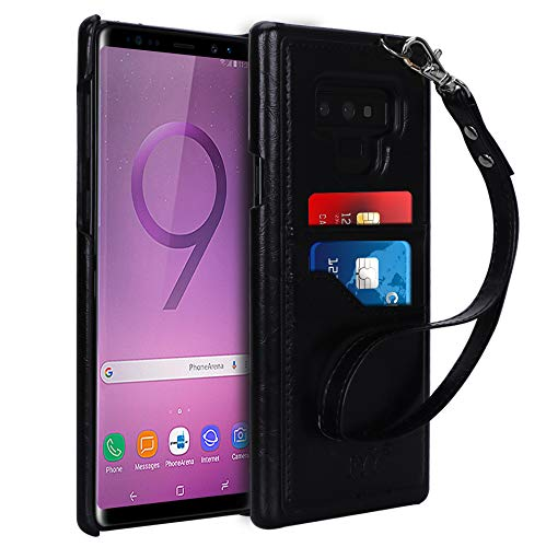 FYY Case for Samsung Galaxy Note 9,Slim, Elegant PU Leather Case Design with Card Slots and Detachable Hand Strap for Galaxy Note 9 Black For Sale