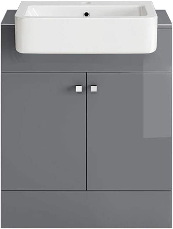 NRG 667mm Vanity Cabinet Basin Unit Floor Standing Bathroom Storage Furniture Gloss White Free Tap and Waste