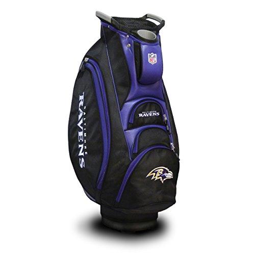 Team Golf NFL Baltimore Ravens Victory Golf Cart Bag, 10-way Top with Integrated Dual Handle & External Putter Well, Cooler Pocket, Padded Strap, Umbrella Holder & Removable Rain Hood -