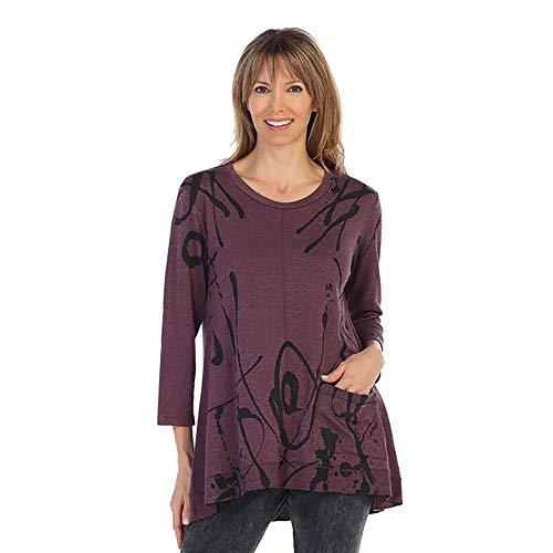 Jess & Jane Shasta Swirl Print High-Low Tunic in Plum - BT1-1243 (Medium)