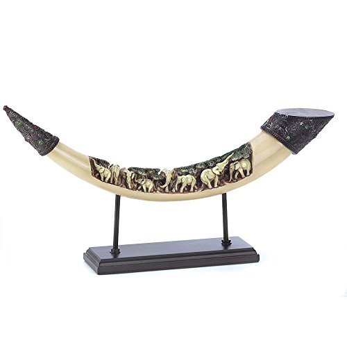 African Tooth Horn Sculpture Engraved simulated elephant tusk Herd Display Stand Animal Statue