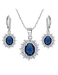 EVER FAITH Women's 925 Sterling Silver CZ Elegant Flower Prong Setting Pendant Necklace Earrings Set