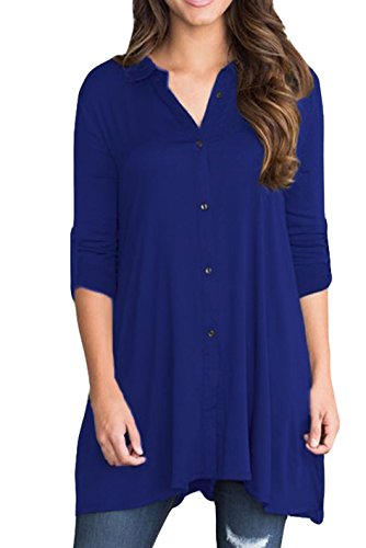 roswear Womne's V Neck 3/4 Cuffed Sleeve Button Down Shirts Solid Blouse Tunic Tops Blue (Solid V-neck Tunic)