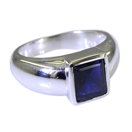 Iolite Ring (55Carat Natural Gemstone Square Shape Iolite Ring Silver For Men In Size US 5,6 ,7,8,9,10,11,12,13)
