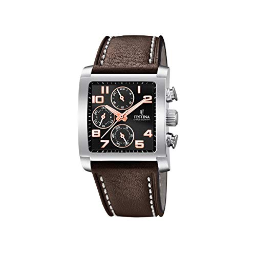 Strap Chronograph Leather Mens Festina Quartz F204247 Watch With TK3F1Jucl