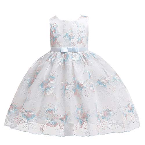 WOCACHI Kids Baby Girls Flower Embroideried Princess Party Performance Formal Tutu Dress Back to School Father's Day Children's Day July 4th Pregnant Woman Love You 3000 Times -