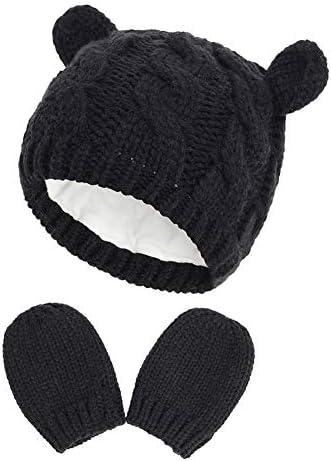 Ourine Winterhandschoenen en Bobble Hoedenset voor jongens kinderhandschoenen en warme wintermuts geschikt voor 618 maanden