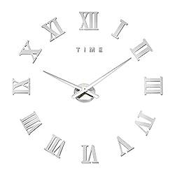 M.Sparkling DIY Wall Clock Roman Numeral Scales Home Decor (SILVER)