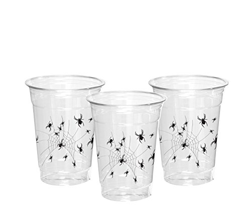 Party Essentials SD162042 Supplies 20-Count Soft Plastic 16-Ounce Halloween Party Cups/Pint Glasses, Spider Print, One size, -