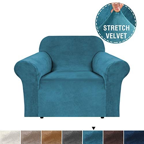 H.VERSAILTEX 1 Piece Stretch Stylish Armchair Cover Feature Real Velvet Plush Fabric, Soft Thick Luxury Velvet Furniture Sofa Cover Slipcover Machine Washable/Skid Resistance (Chair, Peacock Blue) (Armchair Cover)