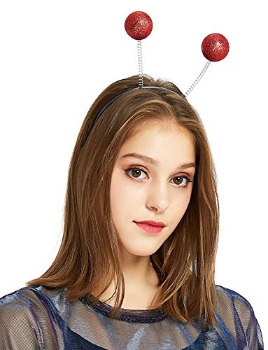 (Perfashion Unisex Glitter Red Head Boppers Headband Party Ball Novelty Glow In Metallic Headband)