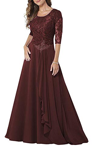 Meaningful Half Modest Mother Of The Bride Dress Prom Dress Evening Party Gown 14 Burgundy