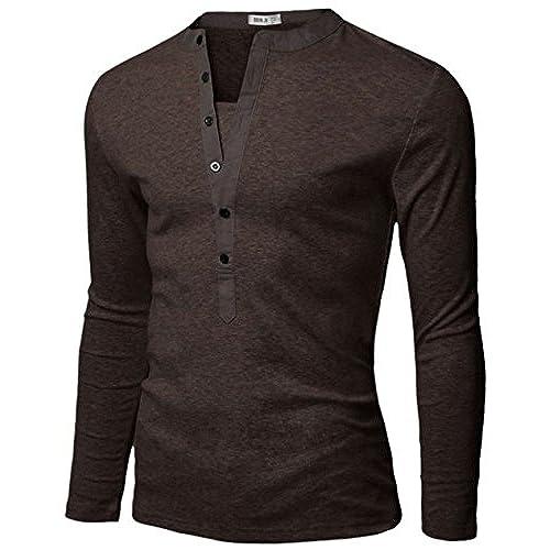 Doublju Mens Basic Slim Fit Long Sleeve Henley Shirts BROWN L