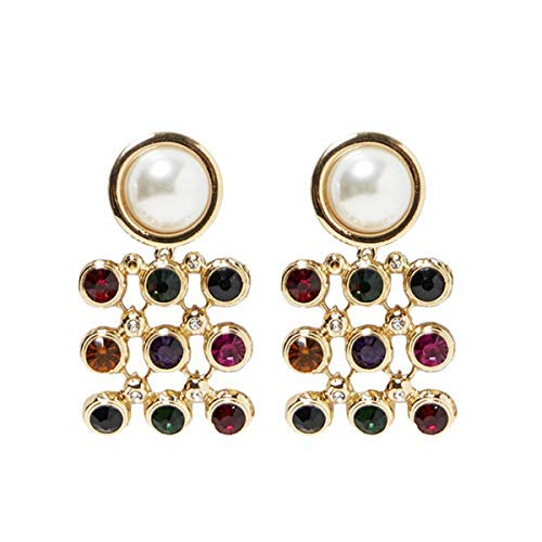 (Pearl and Gemstone Drop Dangle Earrings KELMALL COLLECTION)