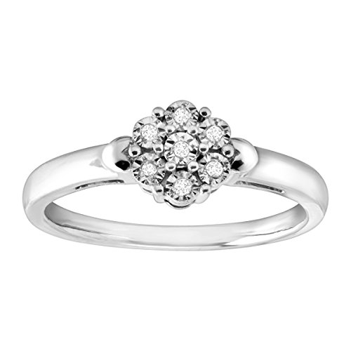 Flower Cluster Ring with Diamonds in Sterling Silver Size 7