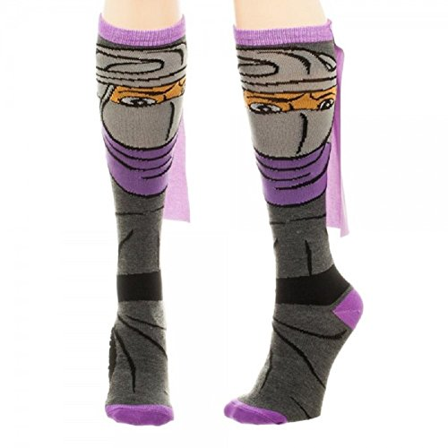 Teenage Mutant Ninja Turtles Socks (TMNT Knee High Ribbon Socks (Silver (Shredder)))