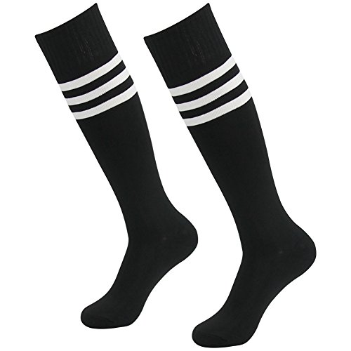 Ladies Football Halloween Costume (3street Triple Stripe Tube Sock - Black+White Stripe1)